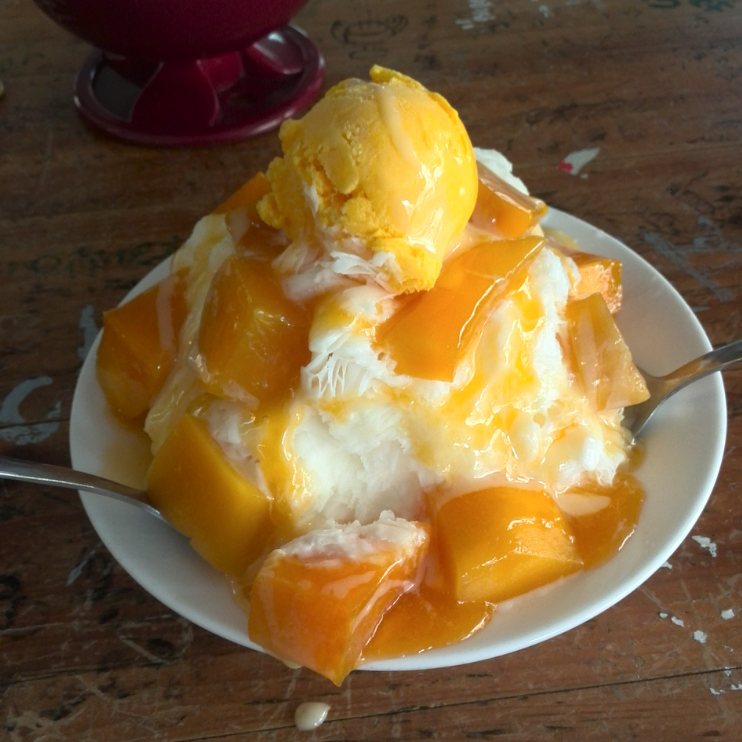 Mango shaved ice (also known as 刨冰/baobing)
